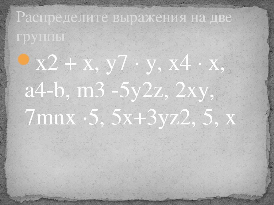 x2 + x, y7 ∙ y, x4 ∙ x, a4-b, m3 -5y2z, 2xy, 7mnx ∙5, 5x+3yz2, 5, х Распредел...