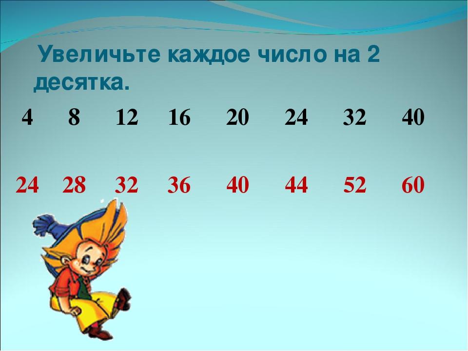 Увеличьте каждое число на 2 десятка. 4 8 12 16 20 24 32 40 24 28 32 36 40 44...