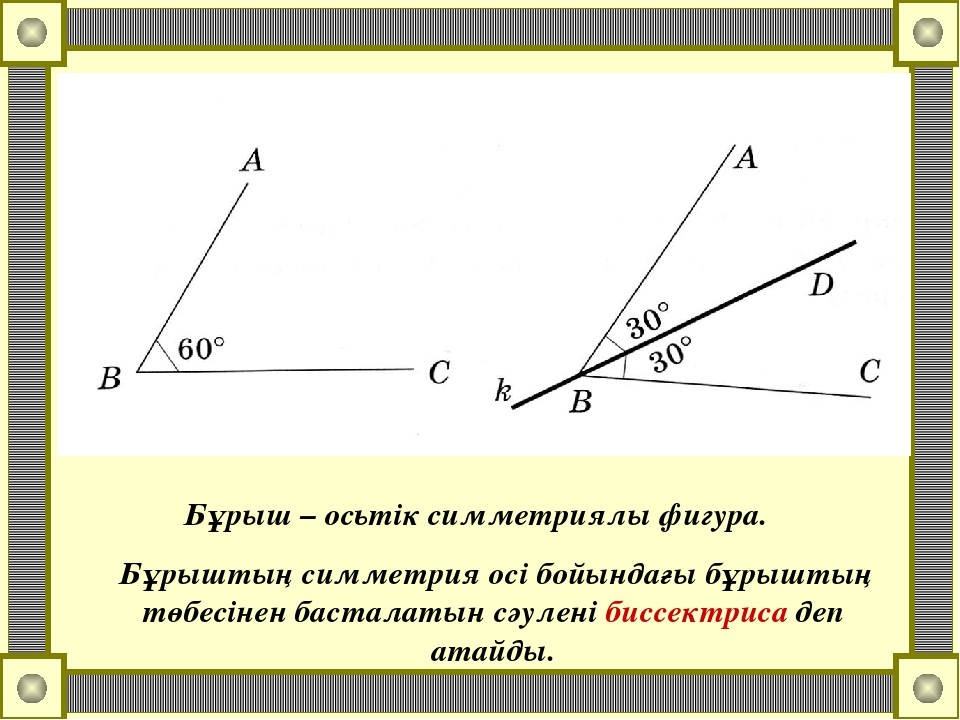 Бұрыш – осьтік симметриялы фигура. Бұрыштың симметрия осі бойындағы бұрыштың...