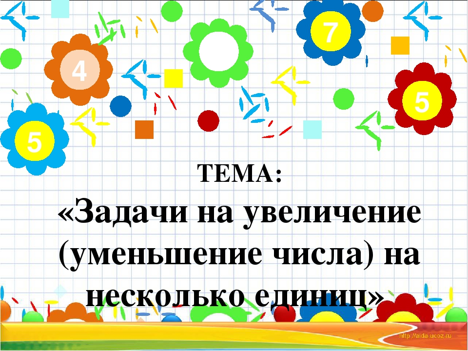 ТЕМА: «Задачи на увеличение (уменьшение числа) на несколько единиц» 2 4 5 7 5