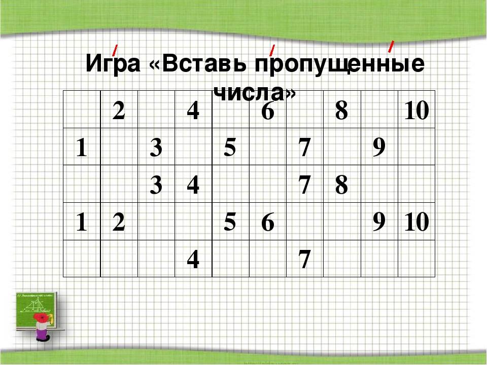 Игра «Вставь пропущенные числа» 2 4 6 8 10 1 3 5 7 9 3 4 7 8 1 2 5 6 9 10 4 7