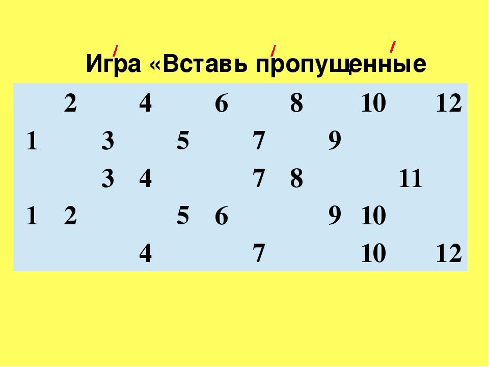 Игра «Вставь пропущенные числа» 2 4 6 8 10 12 1 3 5 7 9 3 4 7 8 11 1 2 5 6 9...