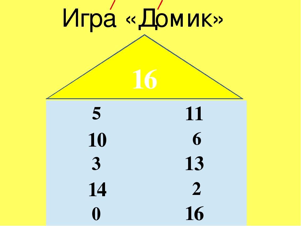 Игра «Домик» 16 11 10 13 14 16 5 6 3 2 0