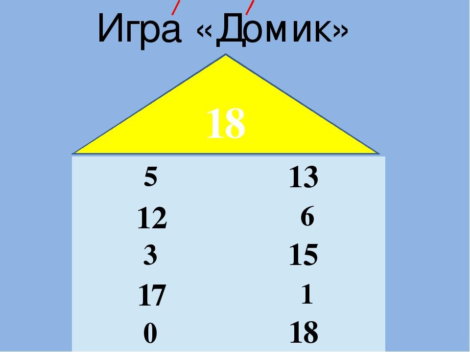 Игра «Домик» 18 13 12 15 17 18 5 6 3 1 0