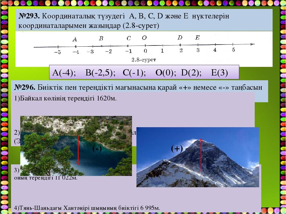 №293. Координаталық түзудегі A, B, C, D және E нүктелерін координаталарымен ж...