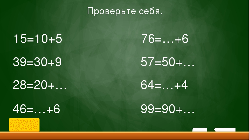 15=10+5 39=30+9 28=20+… 46=…+6 76=…+6 57=50+… 64=…+4 99=90+… Проверьте себя.