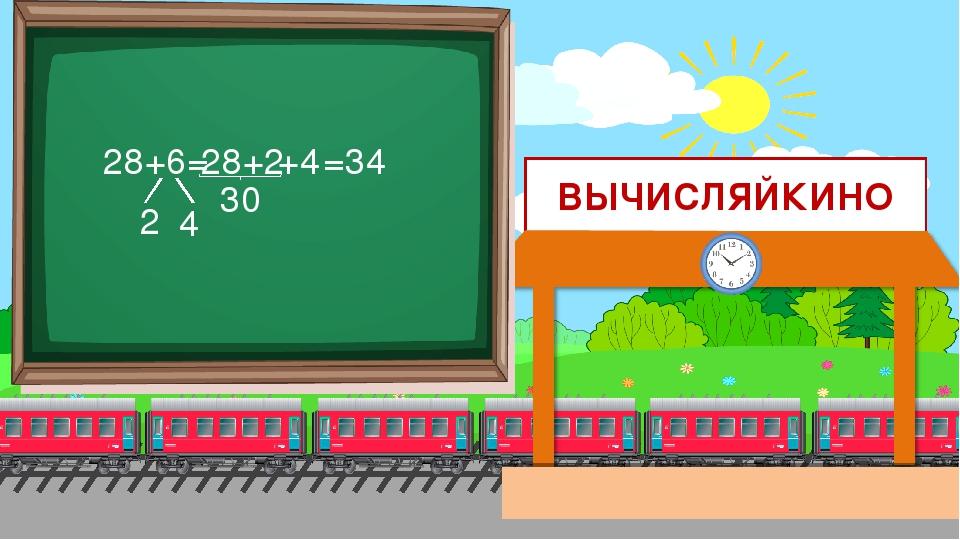 ВЫЧИСЛЯЙКИНО 28+6= 2 4 28+2 =34 30 +4
