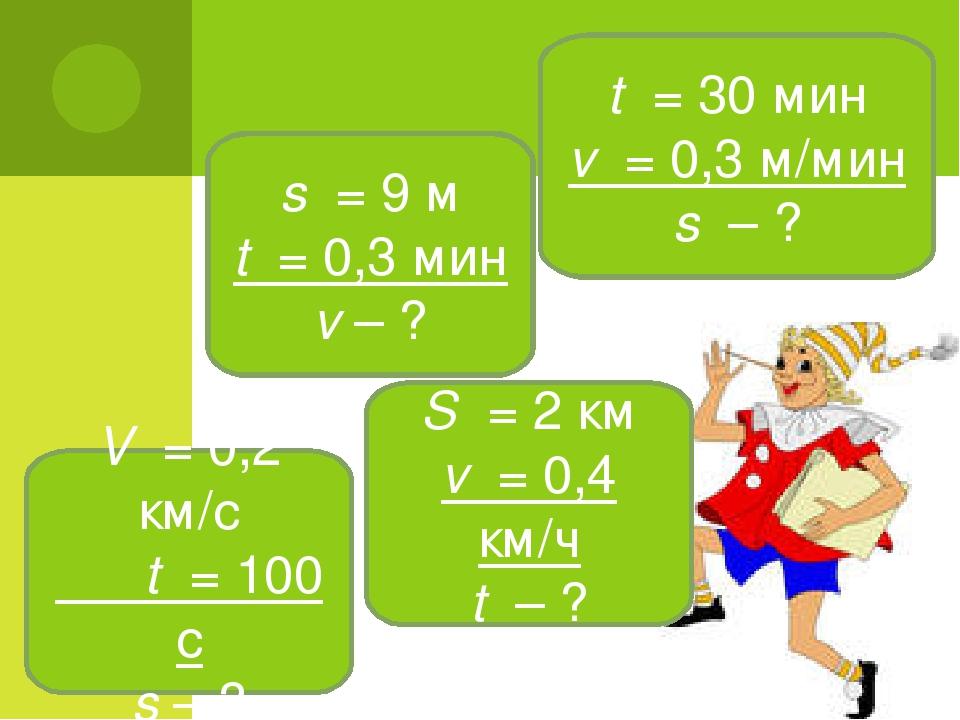 t = 30 мин v = 0,3 м/мин s – ? s = 9 м t = 0,3 мин v – ? V = 0,2 км/с t = 100...