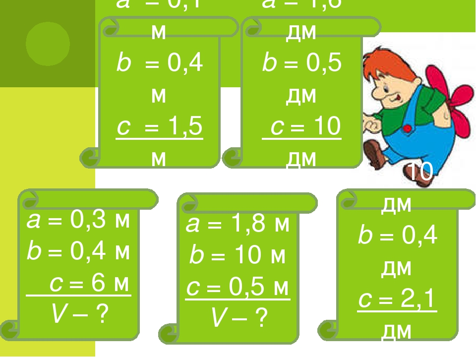 а = 0,1 м b = 0,4 м с = 1,5 м V – ? а = 1,6 дм b = 0,5 дм с = 10 дм V – ? а =...