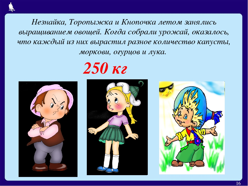 * Незнайка, Торопыжка и Кнопочка летом занялись выращиванием овощей. Когда со...