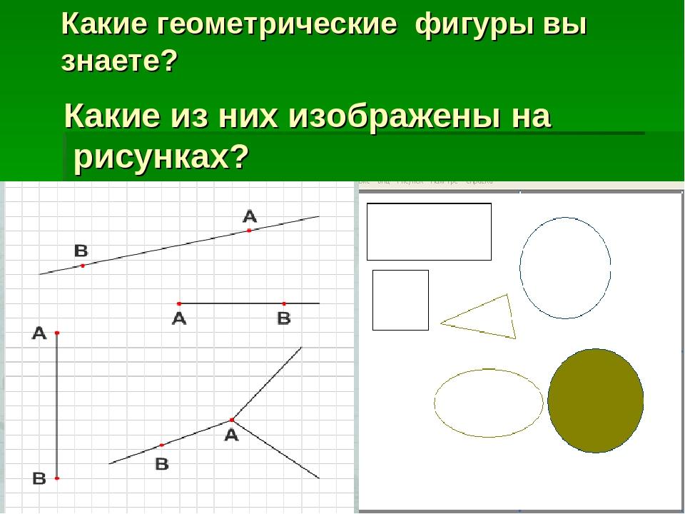 Какие геометрические фигуры вы знаете? Какие из них изображены на рисунках?