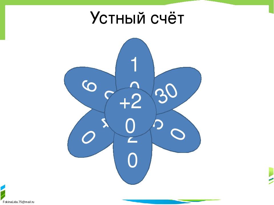 Устный счёт 40 50 30 20 60 10 +20 FokinaLida.75@mail.ru