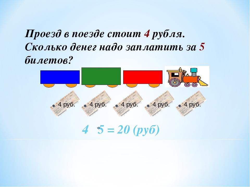 Проезд в поезде стоит 4 рубля. Сколько денег надо заплатить за 5 билетов? 4 5...