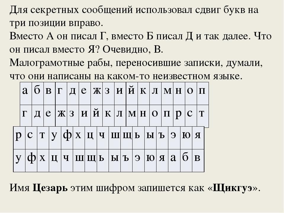Для секретных сообщений использовал сдвиг букв на три позиции вправо. Вместо...