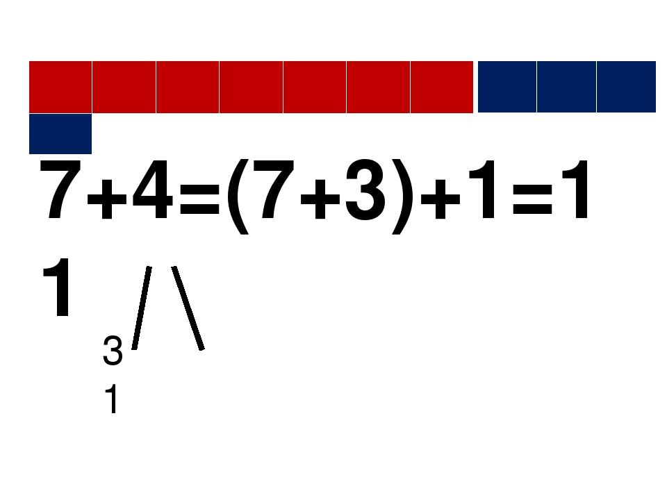 7+4=(7+3)+1=11 3 1