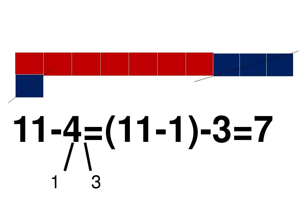 11-4=(11-1)-3=7 1 3