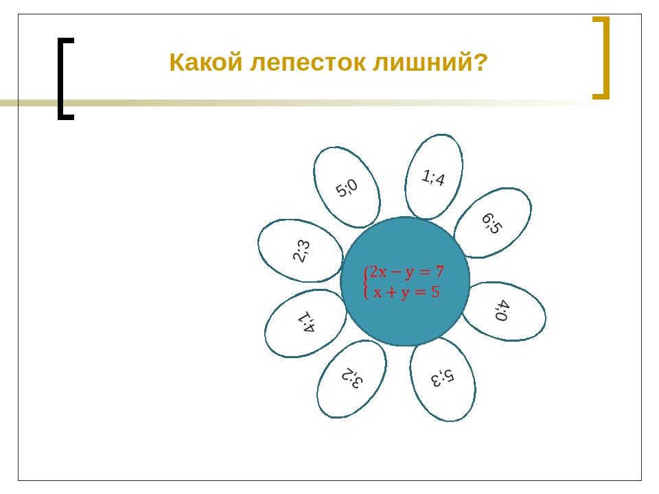 5;0 2;3 1;4 6;5 4;0 5;3 3;2 4;1 Какой лепесток лишний?