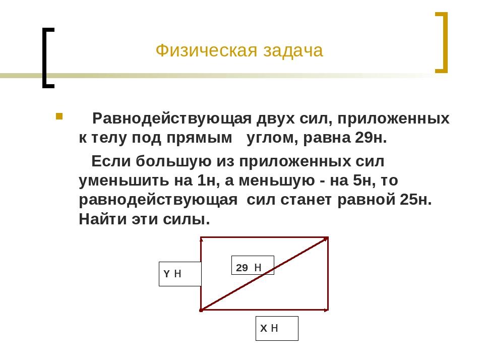 Физическая задача Равнодействующая двух сил, приложенных к телу под прямым уг...