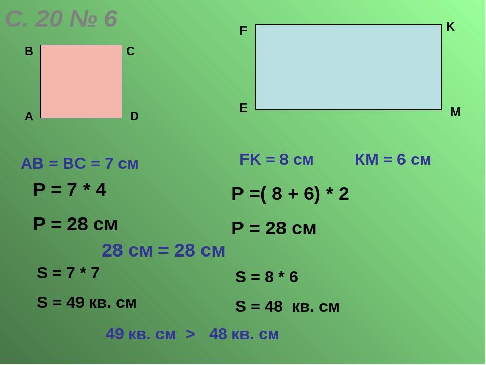 С. 20 № 6 А В С D АВ = ВС = 7 cм E F K M FK = 8 cм КМ = 6 см Р = 7 * 4 Р = 28...