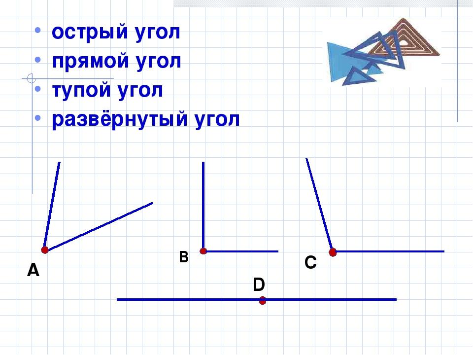 острый угол прямой угол тупой угол развёрнутый угол А В С D