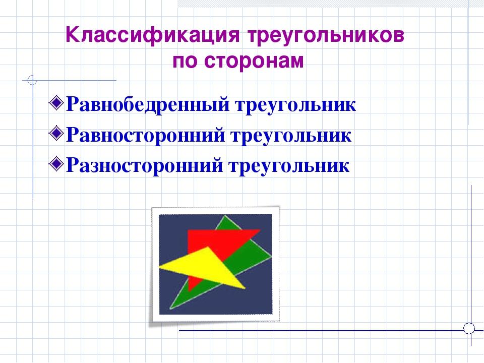 Классификация треугольников по сторонам Равнобедренный треугольник Равносторо...