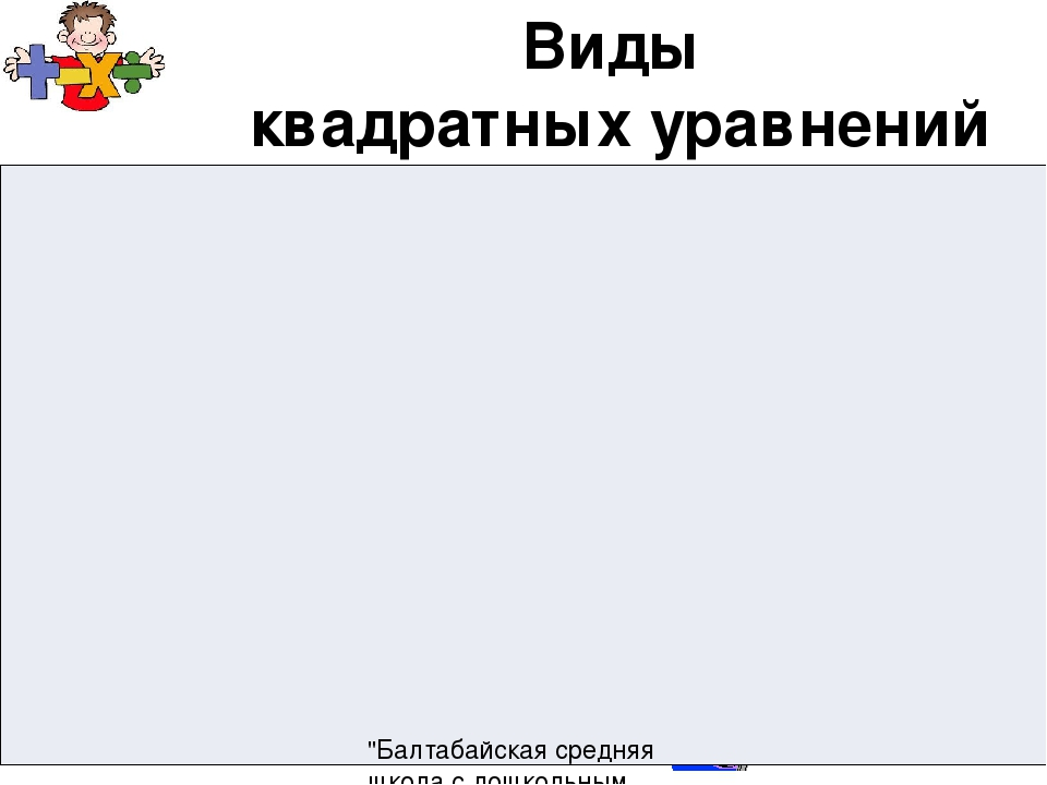"""Виды квадратных уравнений """"Балтабайская средняя школа с дошкольным миницентро..."""