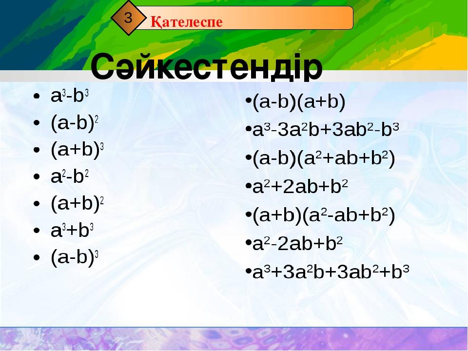 Сәйкестендір Қателеспе 3