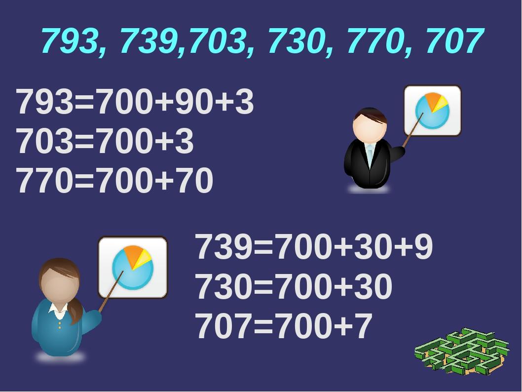 793, 739,703, 730, 770, 707 793=700+90+3 703=700+3 770=700+70 739=700+30+9 73...
