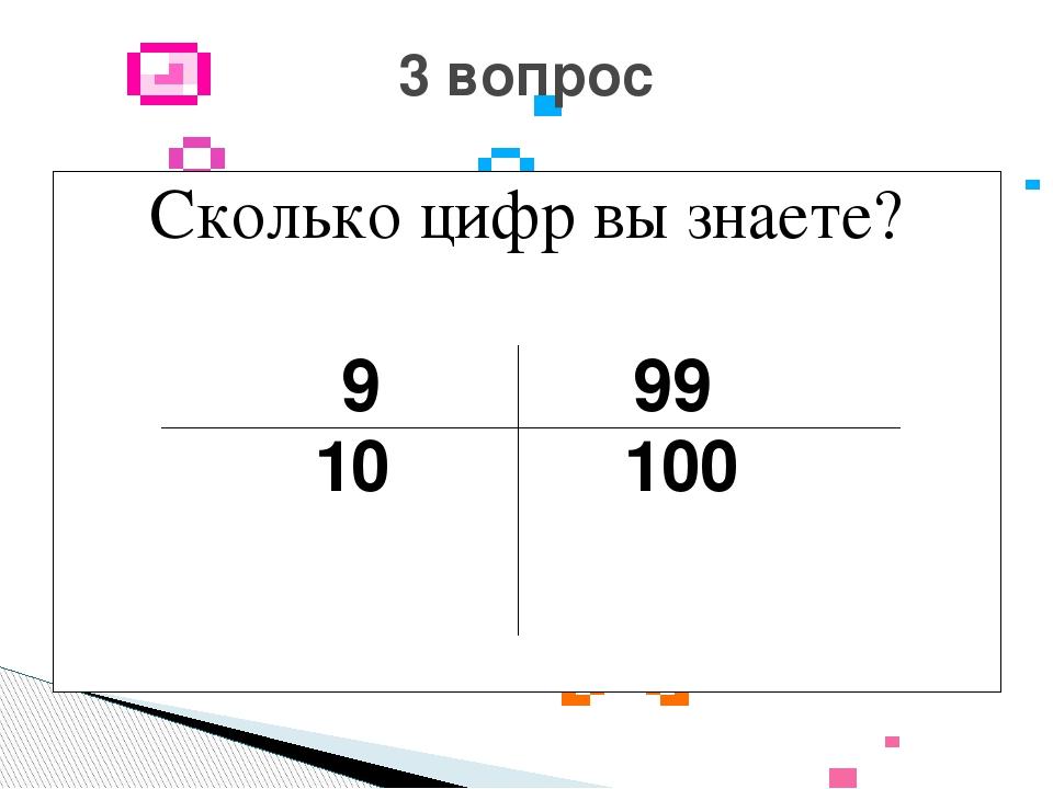 Сколько цифр вы знаете? 9 99 10 100 3 вопрос