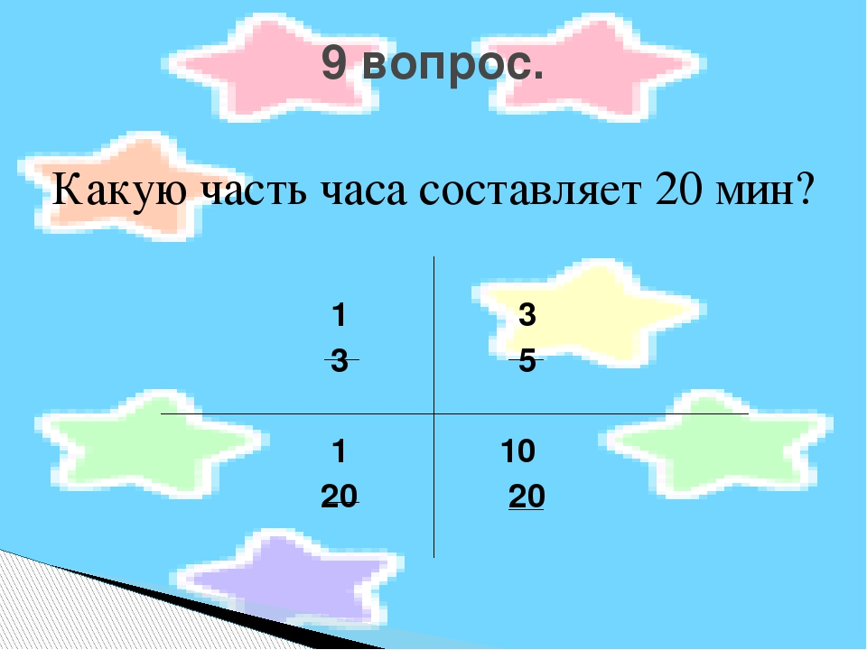 Какую часть часа составляет 20 мин? 1 3 3 5 1 10 20 20 9 вопрос.