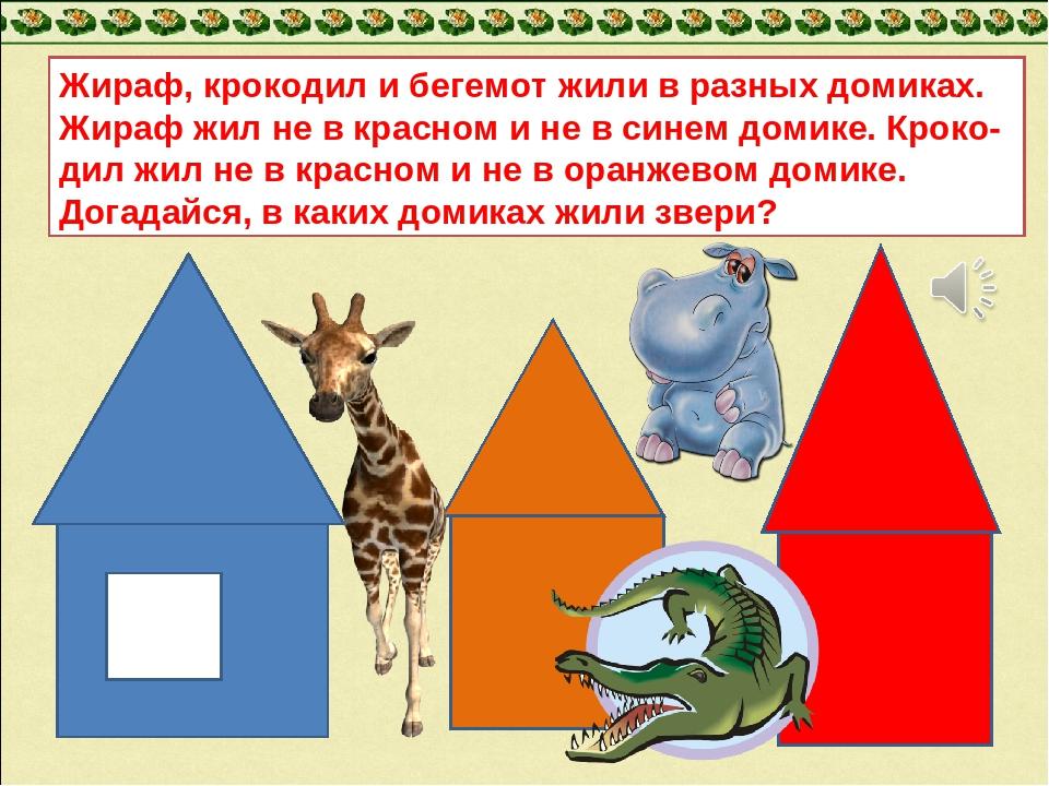 Жираф, крокодил и бегемот жили в разных домиках. Жираф жил не в красном и не...