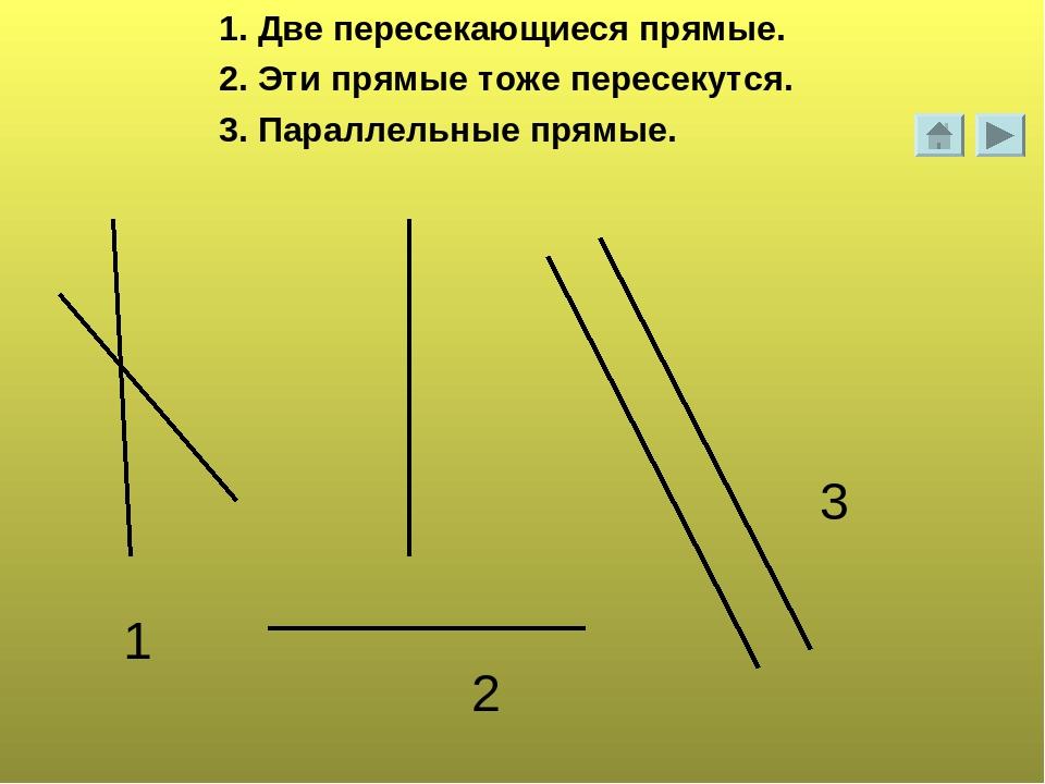 1. Две пересекающиеся прямые. 2. Эти прямые тоже пересекутся. 3. Параллельные...
