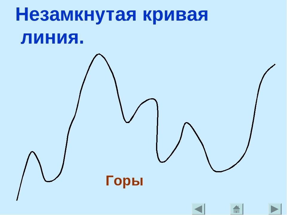 Незамкнутая кривая линия. Горы