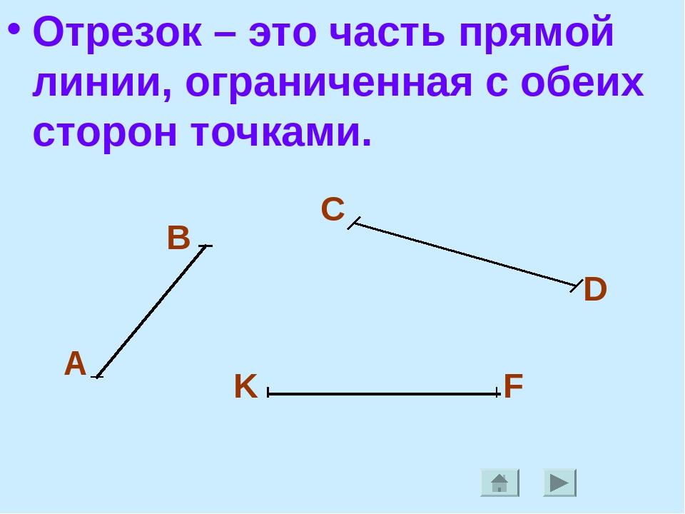 Отрезок – это часть прямой линии, ограниченная с обеих сторон точками. А В C...