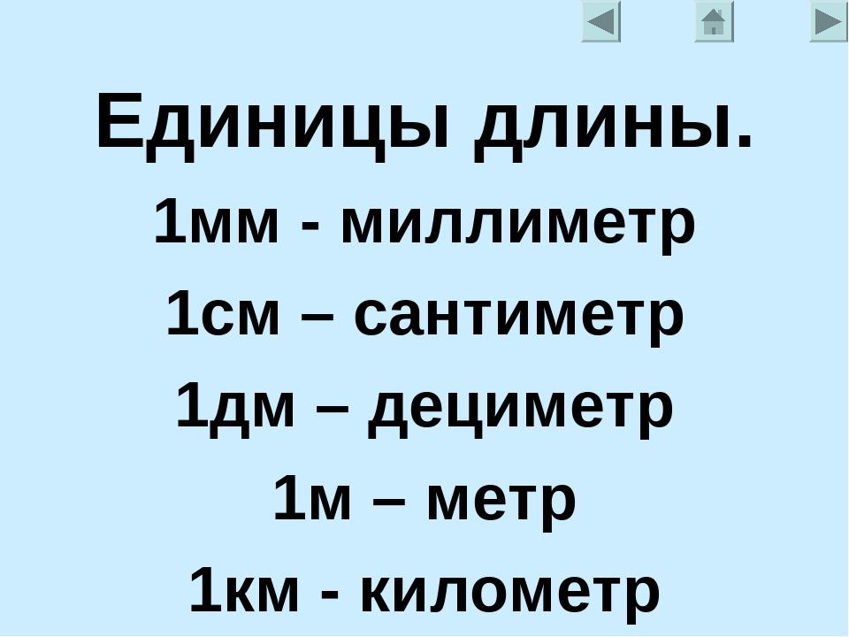 Единицы длины. 1мм - миллиметр 1см – сантиметр 1дм – дециметр 1м – метр 1км -...
