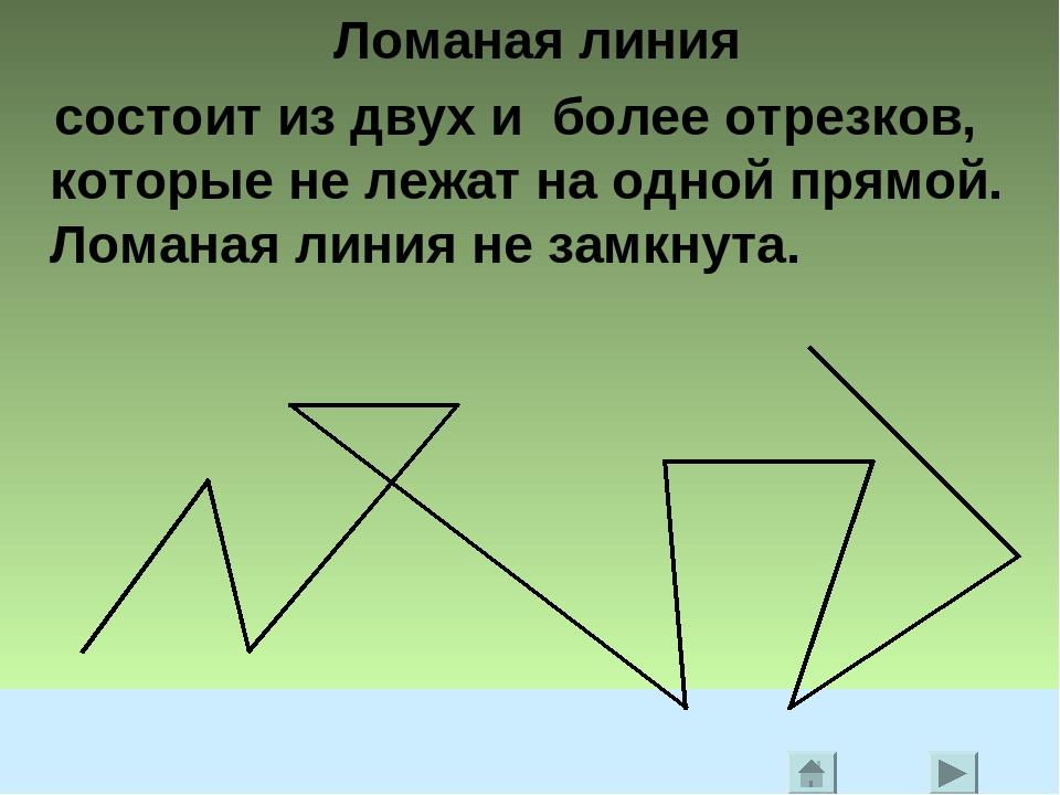 Ломаная линия состоит из двух и более отрезков, которые не лежат на одной пря...