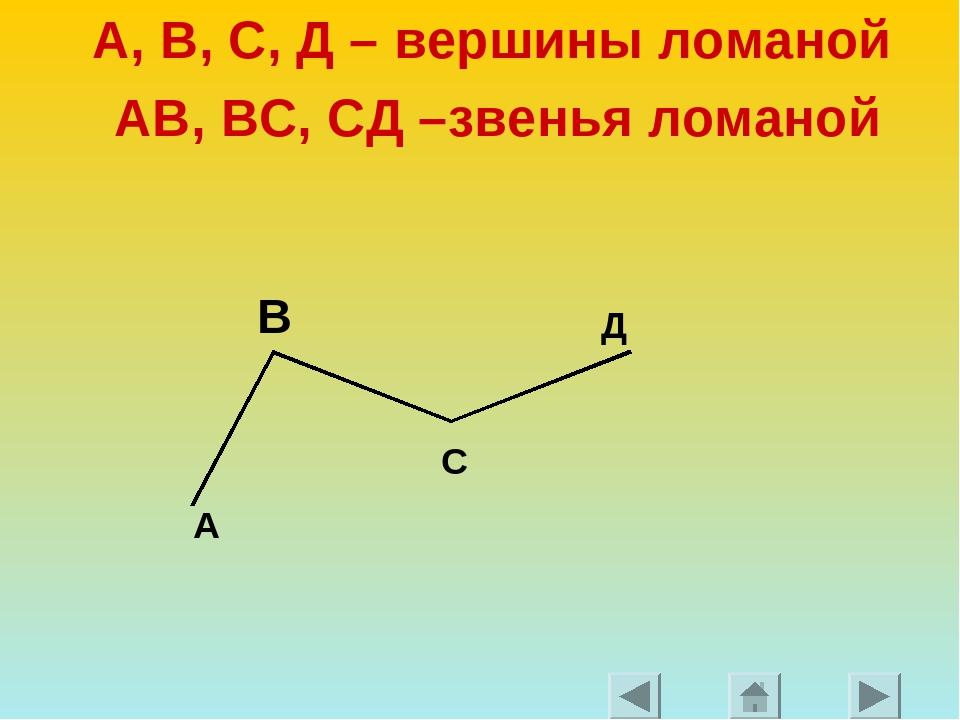 А, В, С, Д – вершины ломаной АВ, ВС, СД –звенья ломаной А С Д В