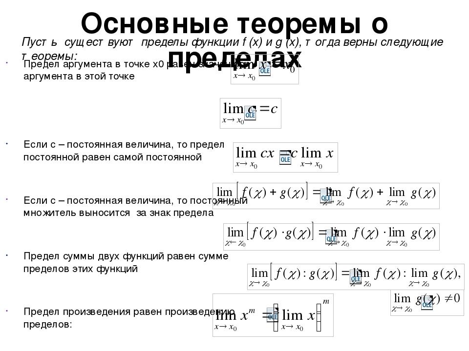 Основные теоремы о пределах Предел аргумента в точке х0 равен значению аргуме...