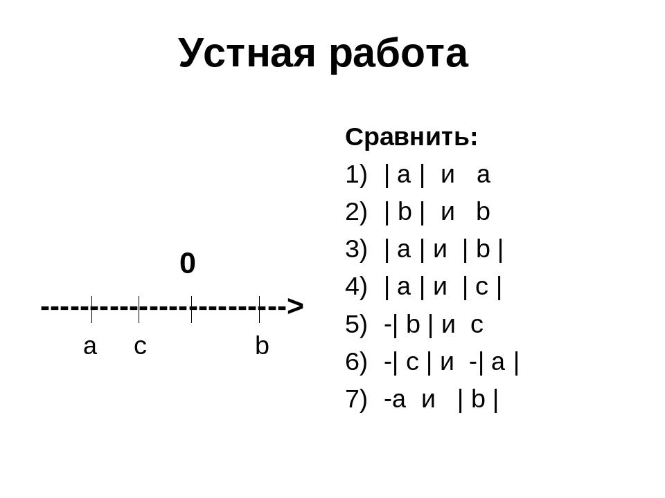 Устная работа 0 -------------------------> a c b Сравнить: | а | и а | b | и...