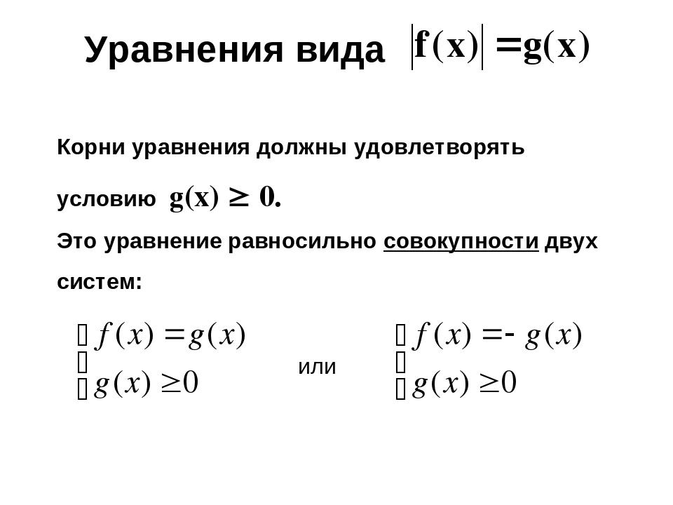 Уравнения вида Корни уравнения должны удовлетворять условию g(х)  0. Это ура...