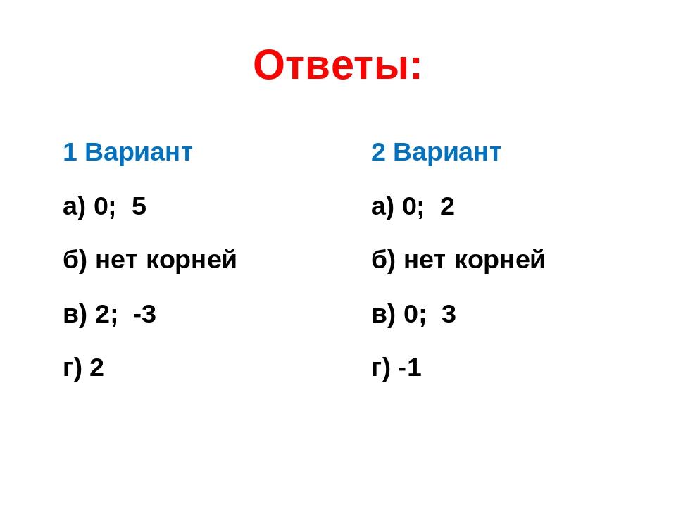 Ответы: 1 Вариант а) 0; 5 б) нет корней в) 2; -3 г) 2 2 Вариант а) 0; 2 б) не...