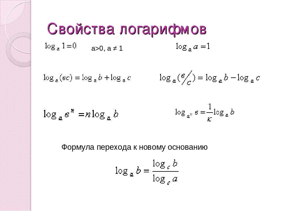 Свойства логарифмов а>0, а ≠ 1 Формула перехода к новому основанию