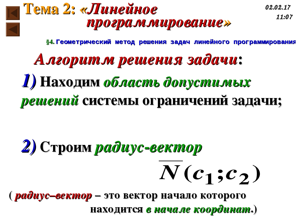 Алгоритм решения задачи: 1) Находим область допустимых решений системы ограни...