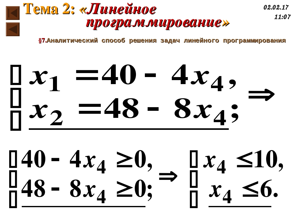 §7.Аналитический способ решения задач линейного программирования Тема 2: «Лин...