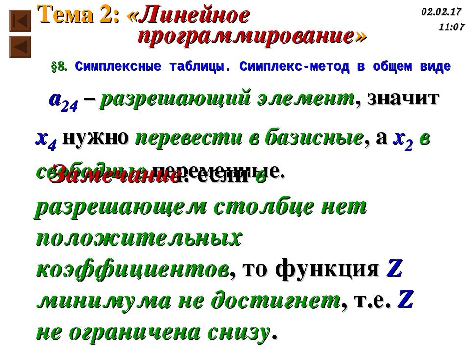 §8. Симплексные таблицы. Симплекс-метод в общем виде a24 – разрешающий элемен...