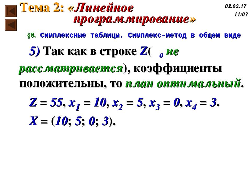 §8. Симплексные таблицы. Симплекс-метод в общем виде 5) Так как в строке Z(γ0...