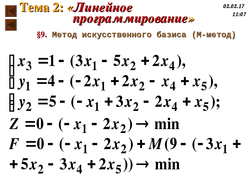 §9. Метод искусственного базиса (М-метод) Тема 2: «Линейное программирование» *