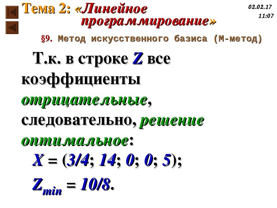 Т.к. в строке Z все коэффициенты отрицательные, следовательно, решение оптима...