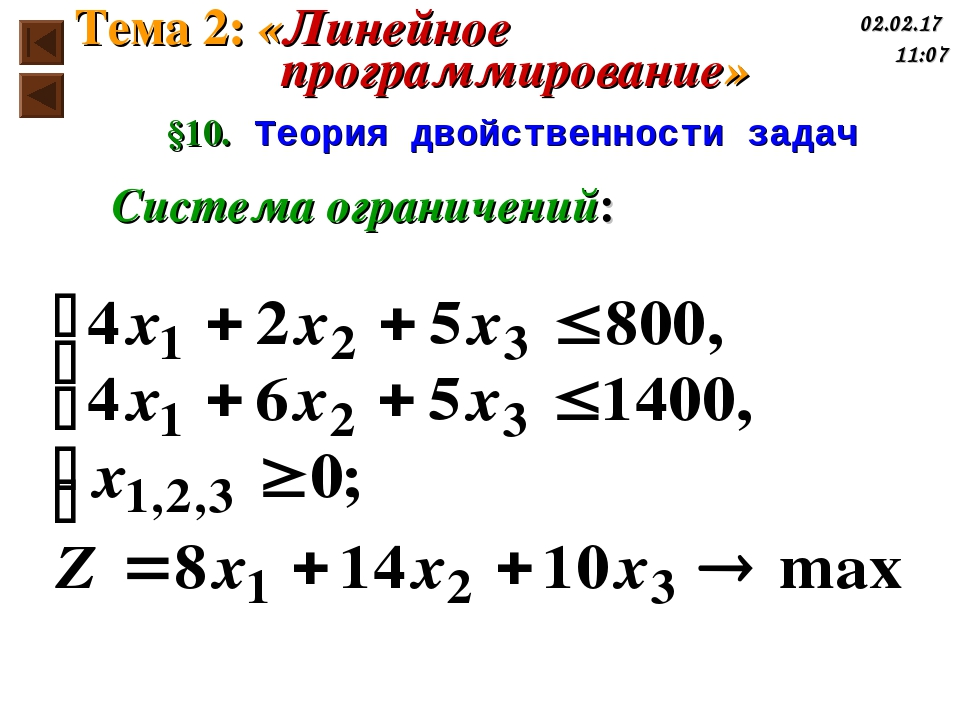 §10. Теория двойственности задач Система ограничений: Тема 2: «Линейное прогр...
