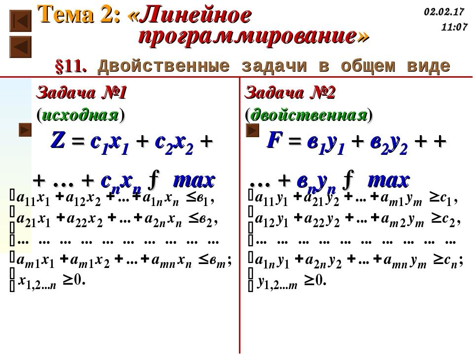 §11. Двойственные задачи в общем виде Z = c1x1 + c2x2 + + … + cnxn → max F =...